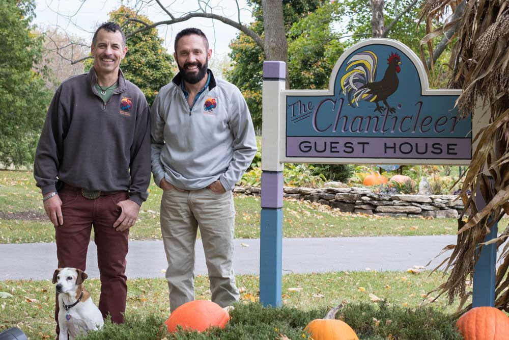 Brion and Darrin, owners of The Chanticleer Guest House, a Door County Bed and Breakfast